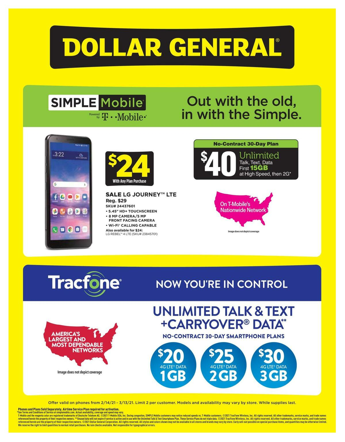 Dollar General Weekly Wireless Specials Weekly Ad from February 14