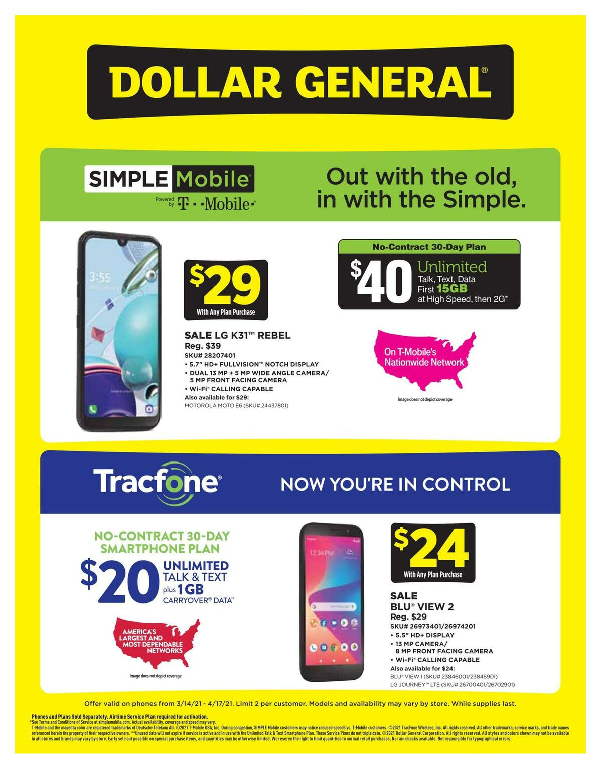 Dollar General Weekly Wireless Specials Weekly Ad from March 14
