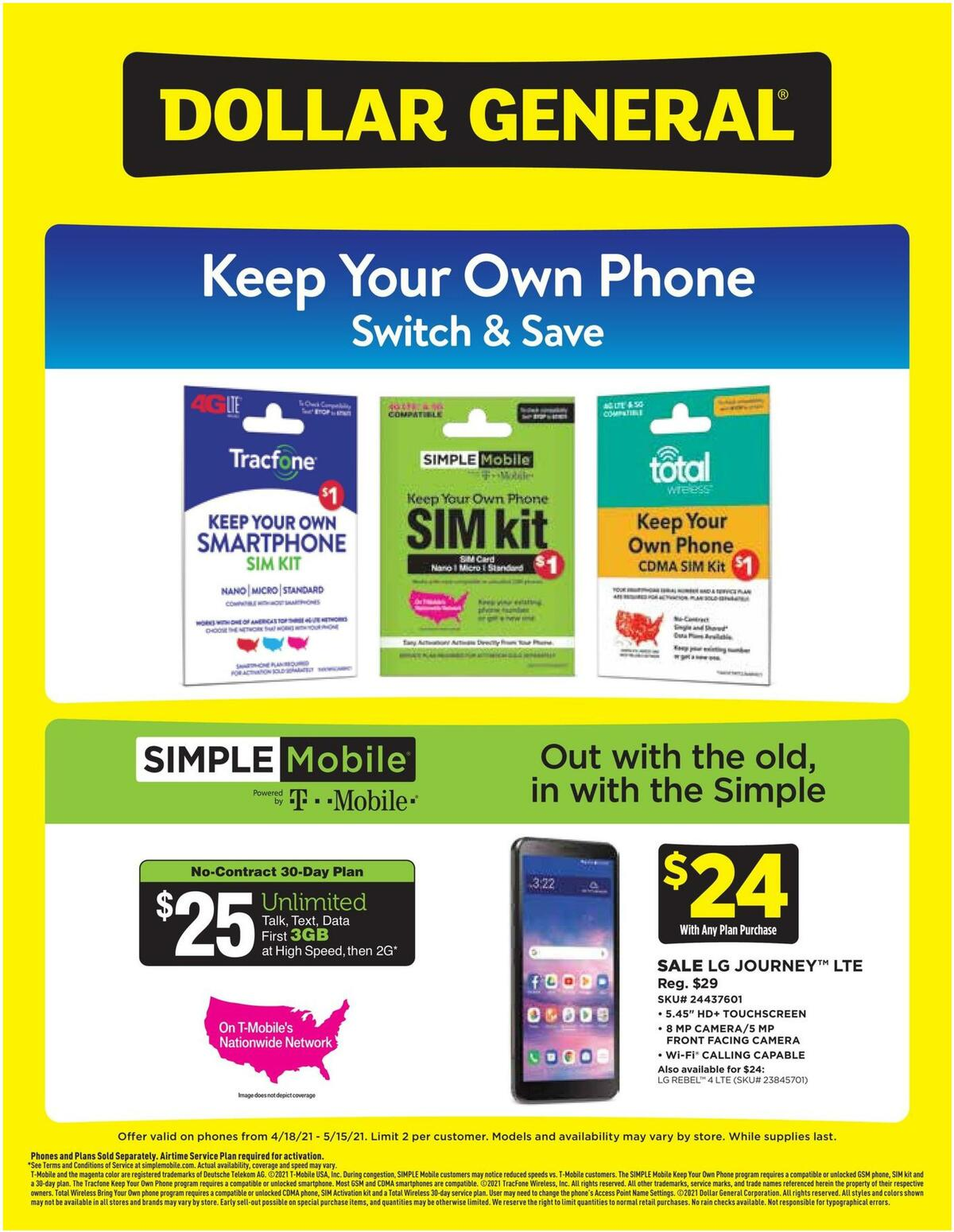 Dollar General Weekly Wireless Specials Weekly Ad from April 18