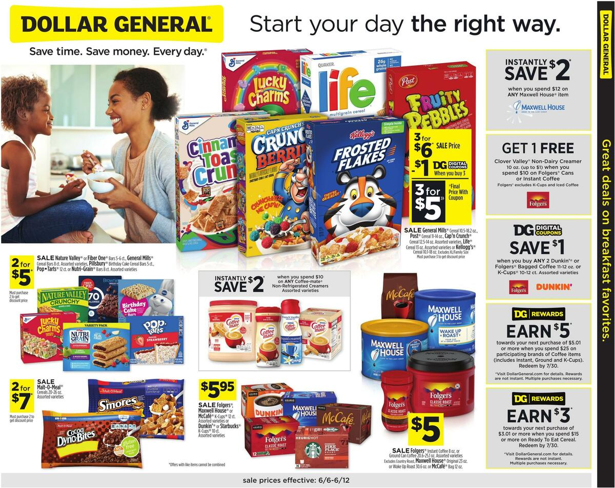 Dollar General Great Deals On Breakfast Favorites Weekly Ad from June 6