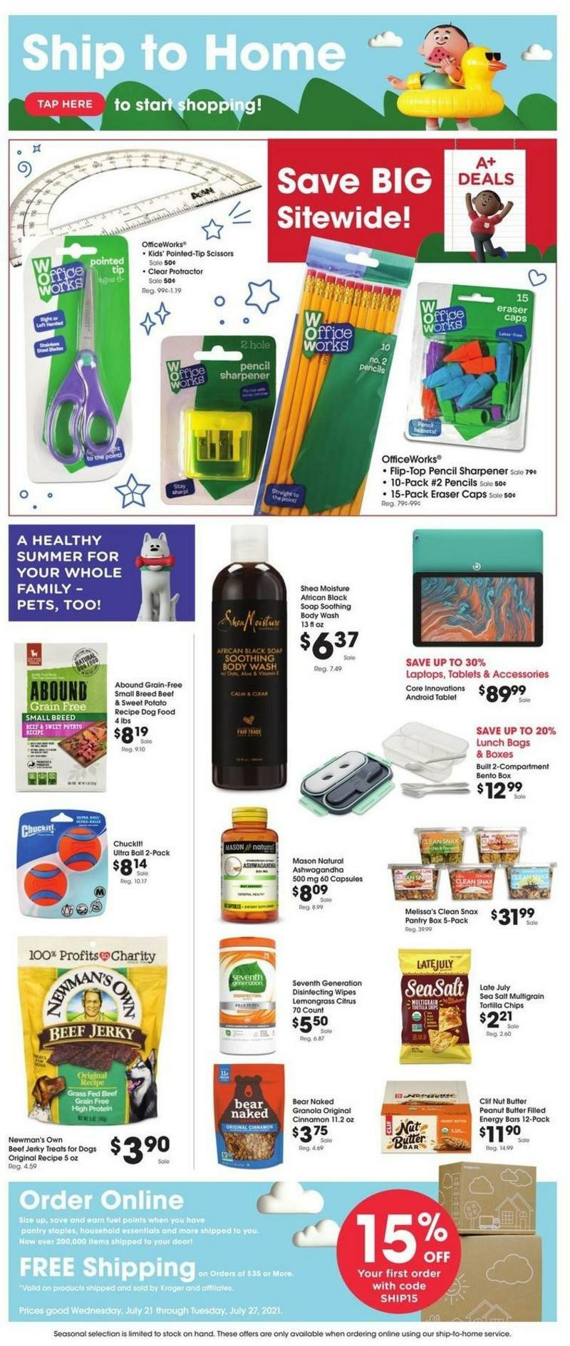 Fred Meyer Ship to Home Weekly Ad from July 21