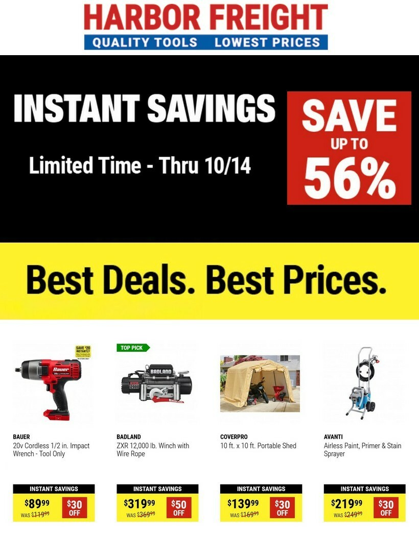 Harbor Freight Tools Weekly Ad from October 1