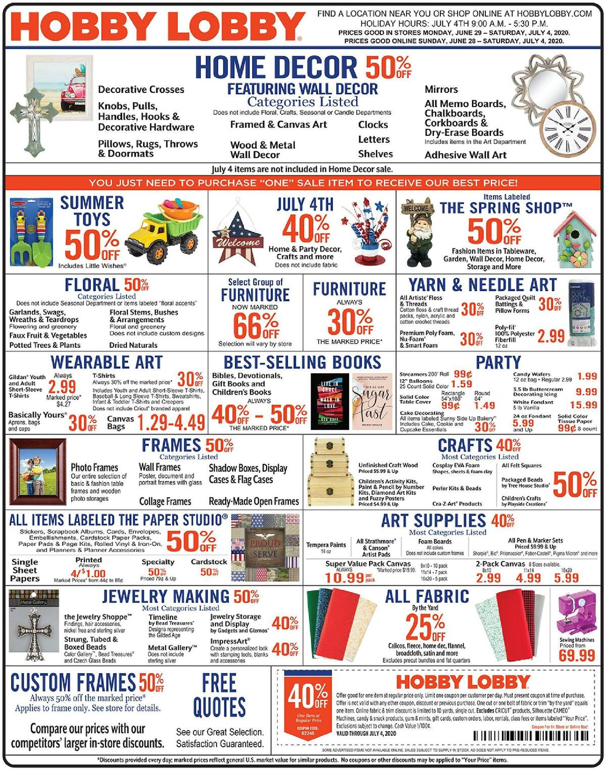 Hobby Lobby Weekly Ad from June 28
