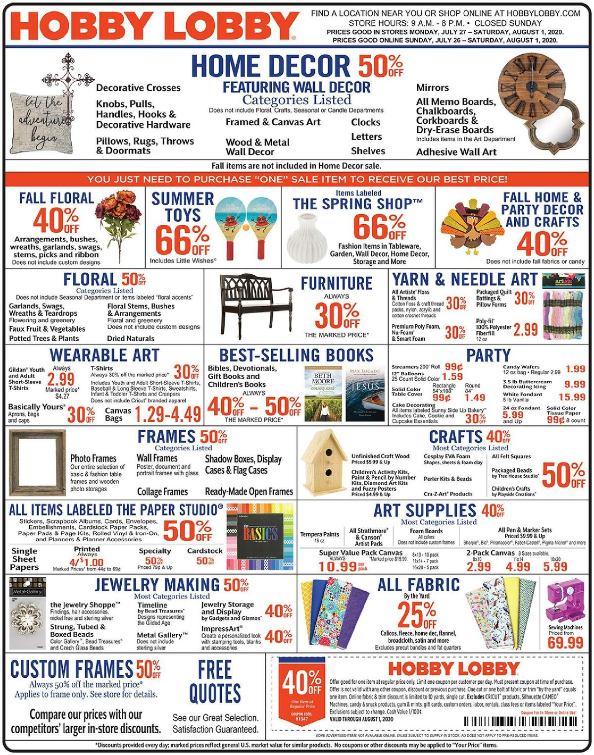 Hobby Lobby Weekly Ad from July 26