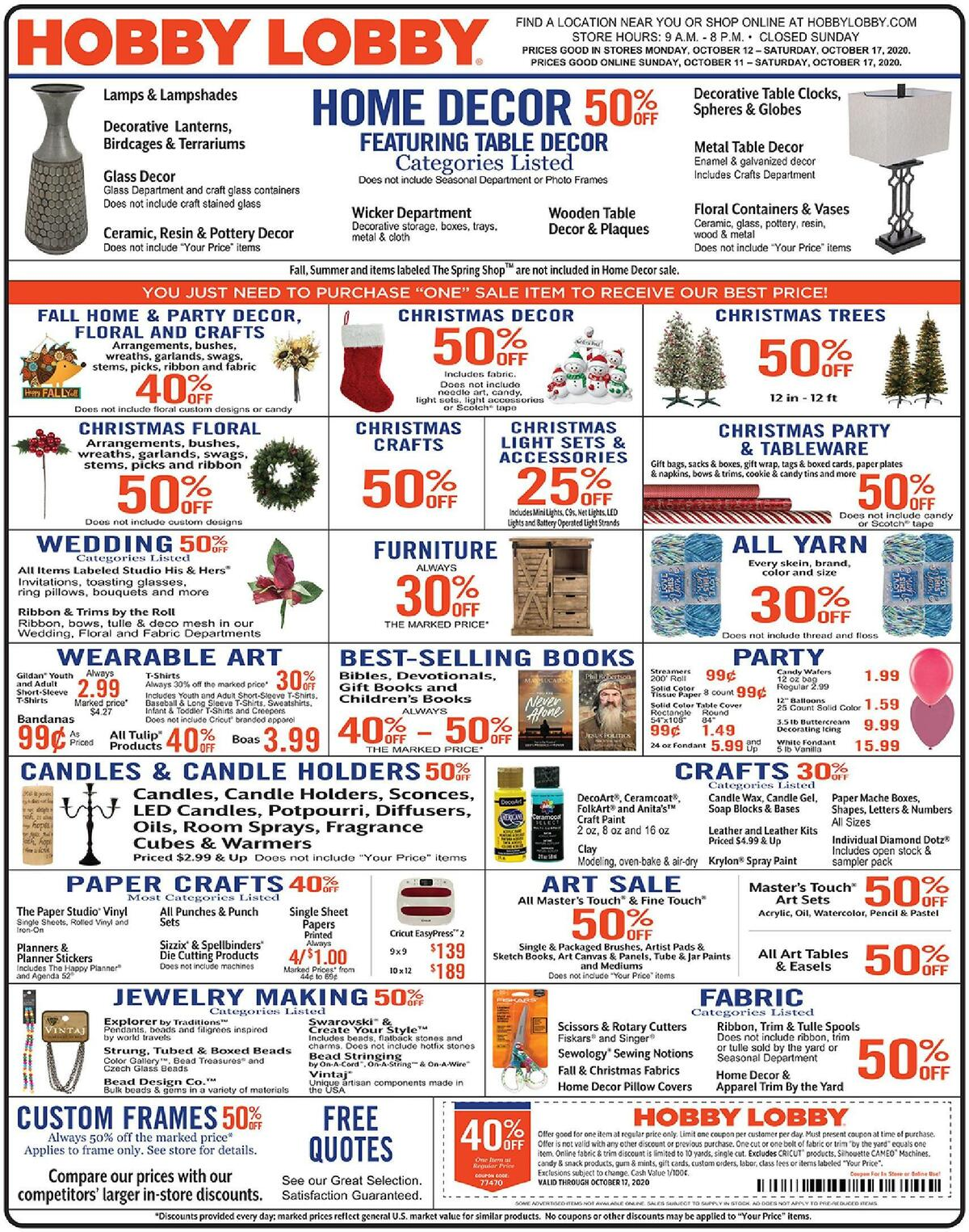 Hobby Lobby Weekly Ad from October 11