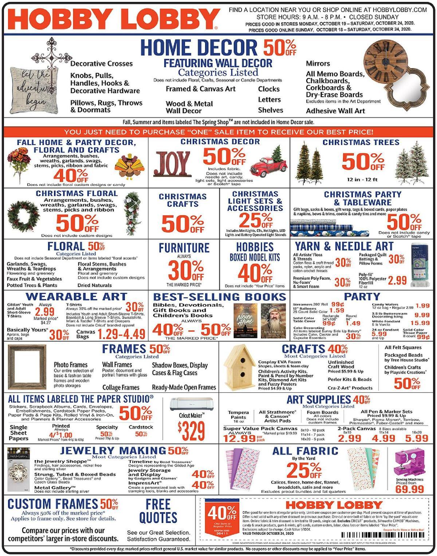Hobby Lobby Weekly Ad from October 18