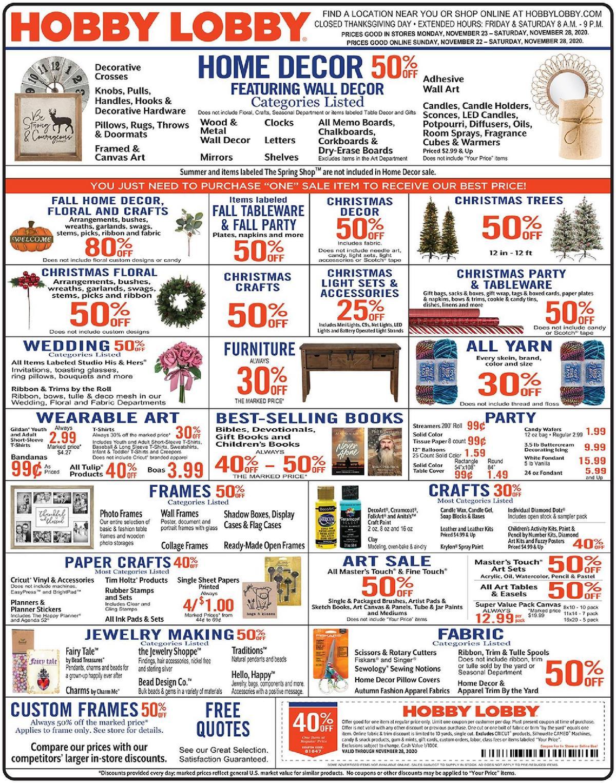 Hobby Lobby Weekly Ad from November 22