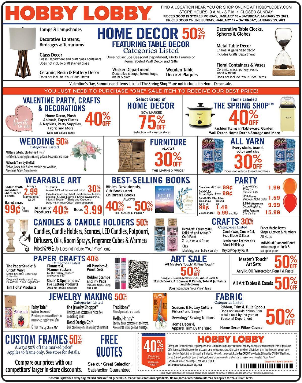 Hobby Lobby Weekly Ad from January 17