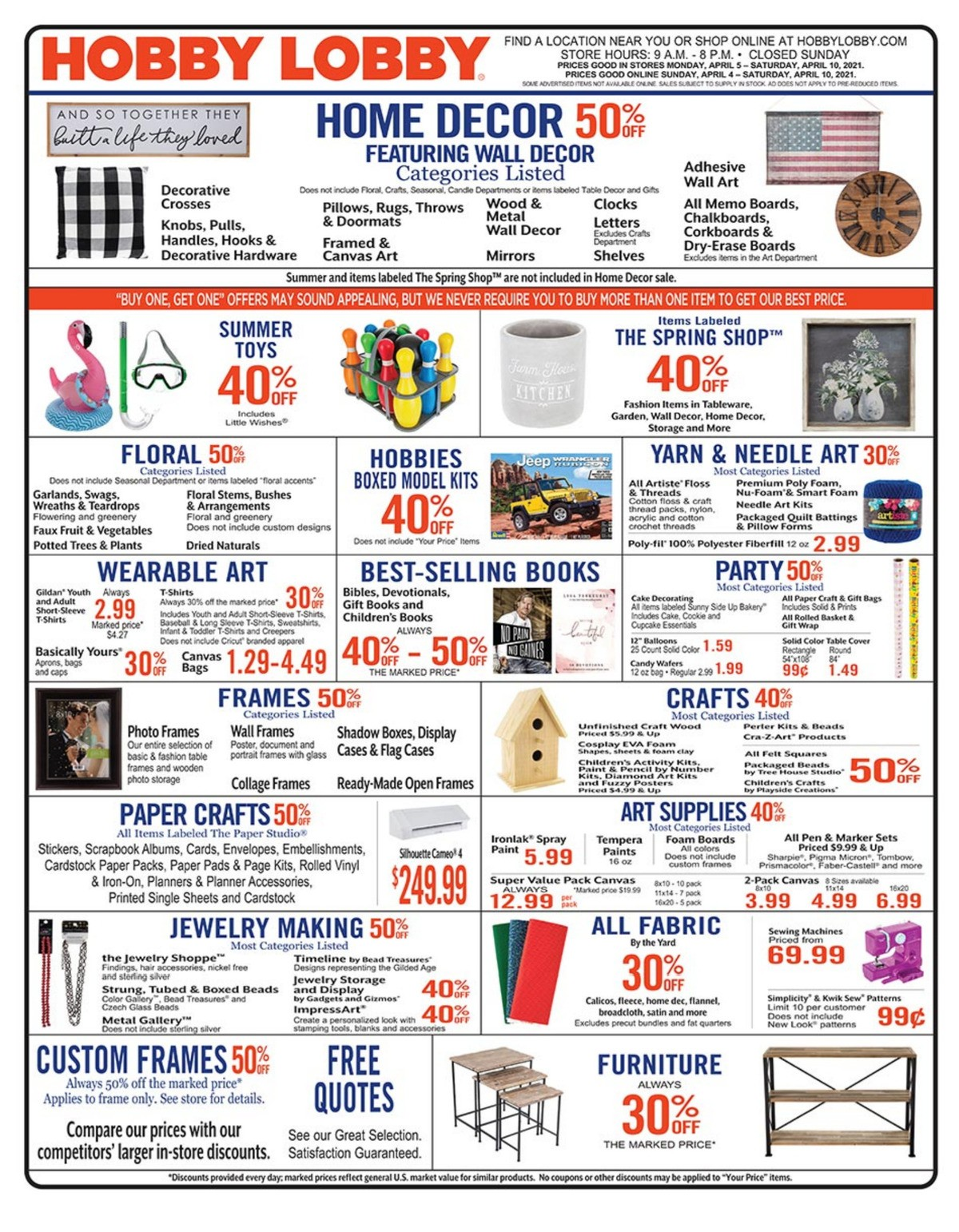 Hobby Lobby Weekly Ad from April 4