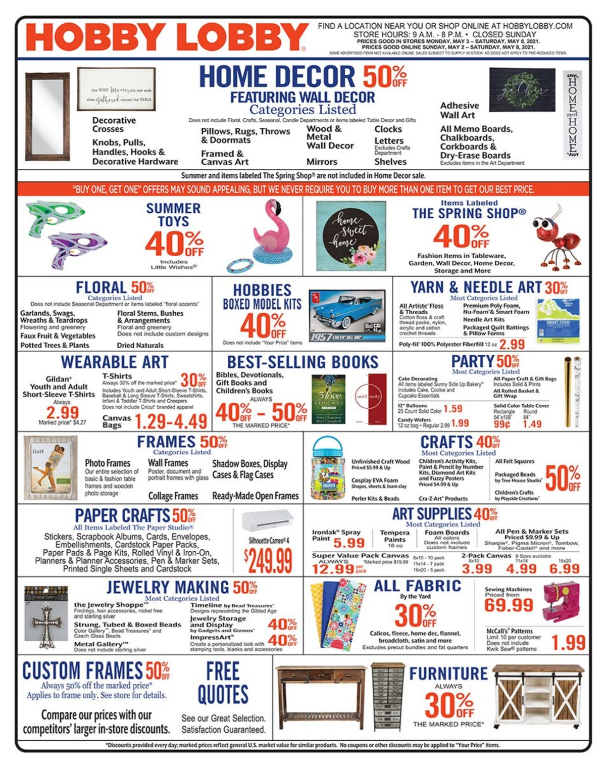 Hobby Lobby Weekly Ad from May 2