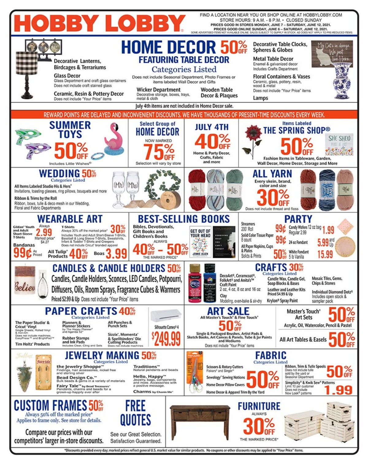 Hobby Lobby Weekly Ad from June 6