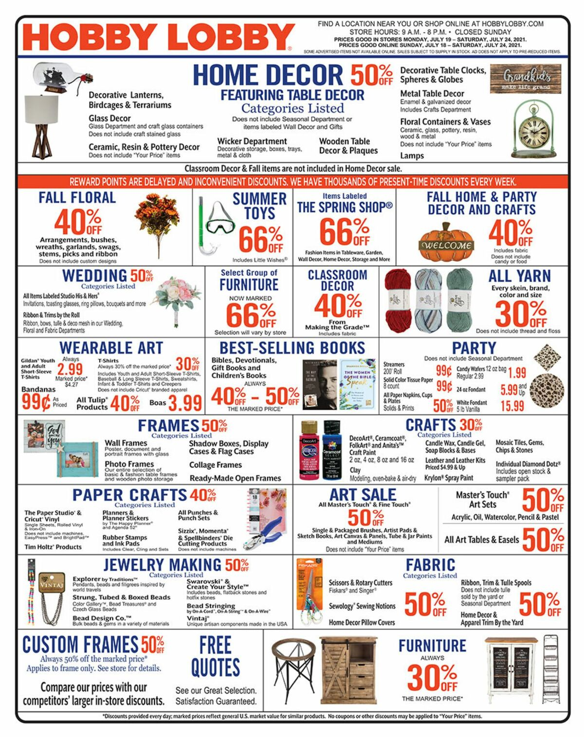 Hobby Lobby Weekly Ad from July 18