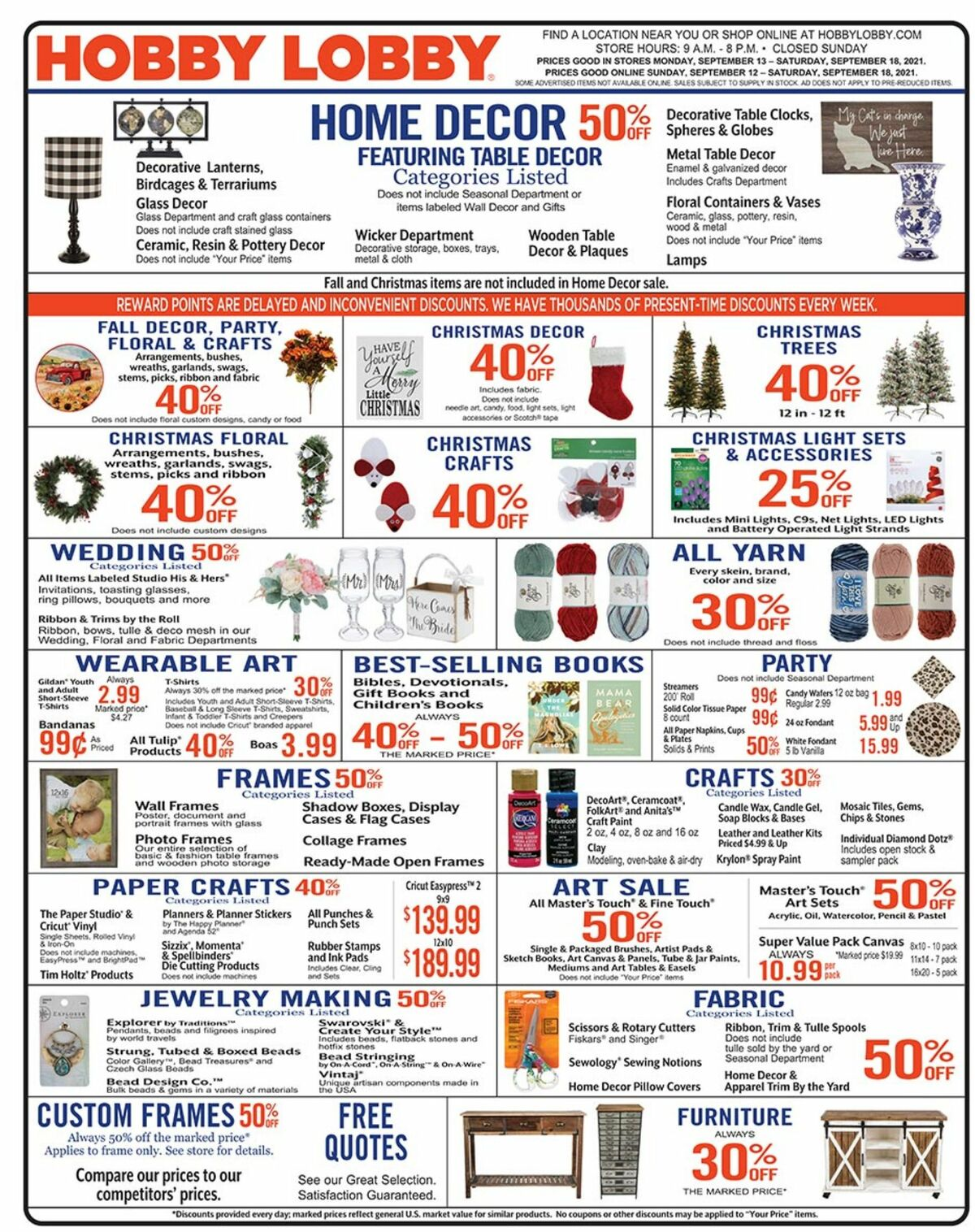 Hobby Lobby Weekly Ad from September 13