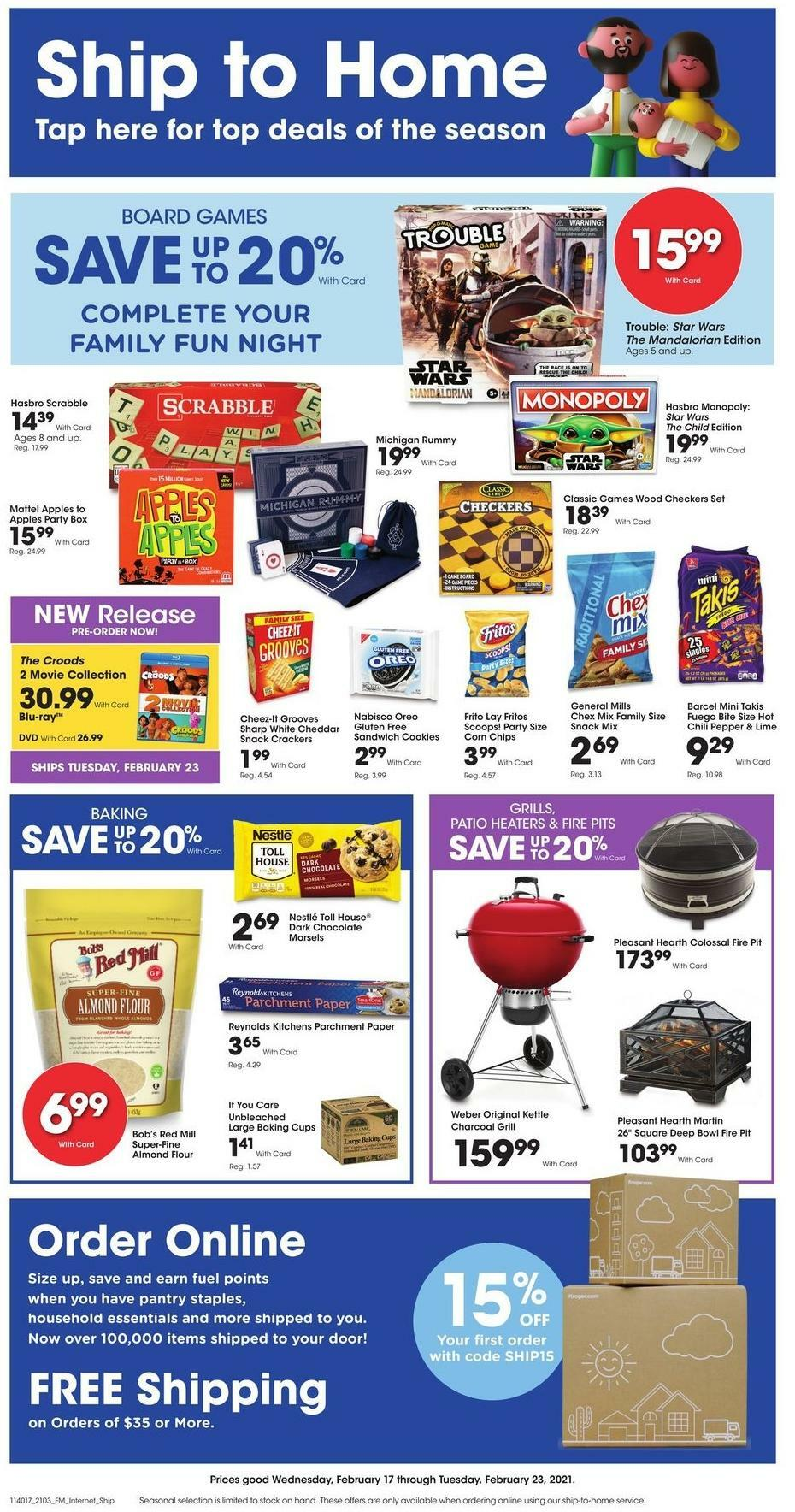 Kroger Ship to Home Weekly Ad from February 17