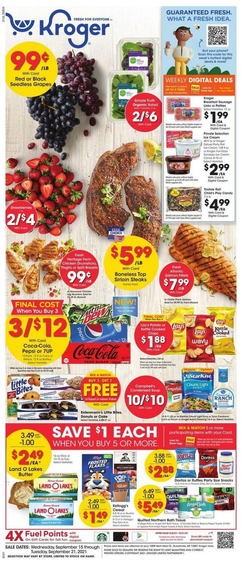 Kroger Weekly Ad from September 15