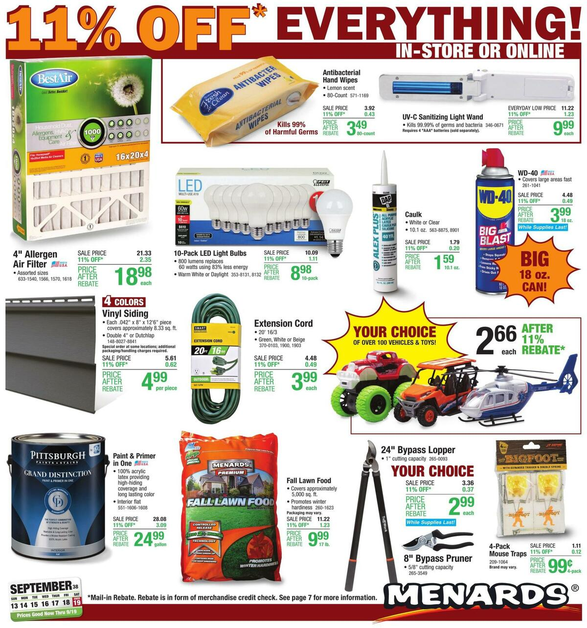 Menards Weekly Ad from September 13