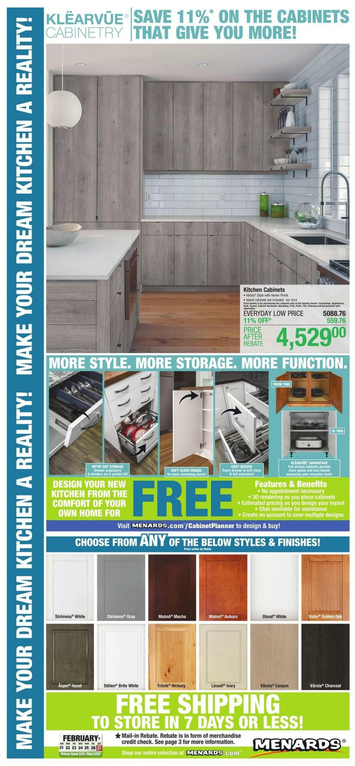 Menards Kitchen Cabinets Weekly Ad from February 21