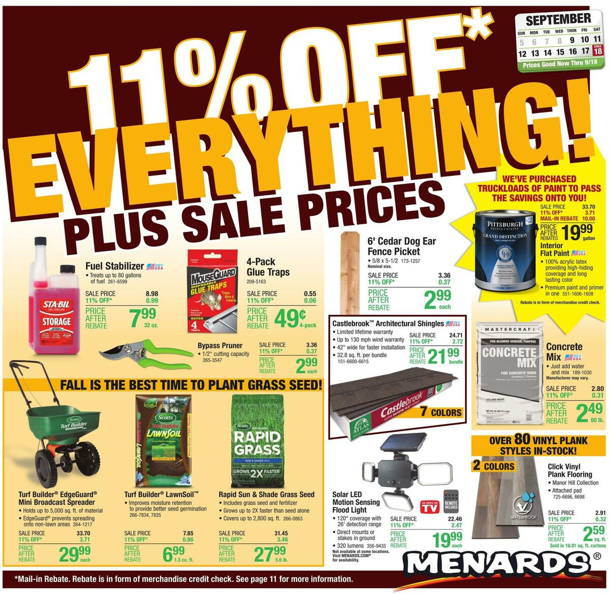 Menards Weekly Ad from September 9