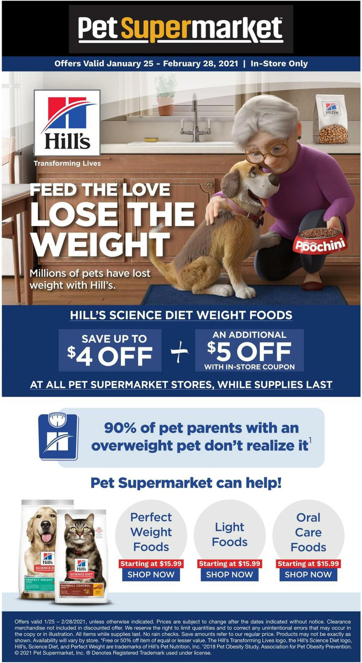 Pet Supermarket Hill's Perfect Weight Weekly Ad from January 25