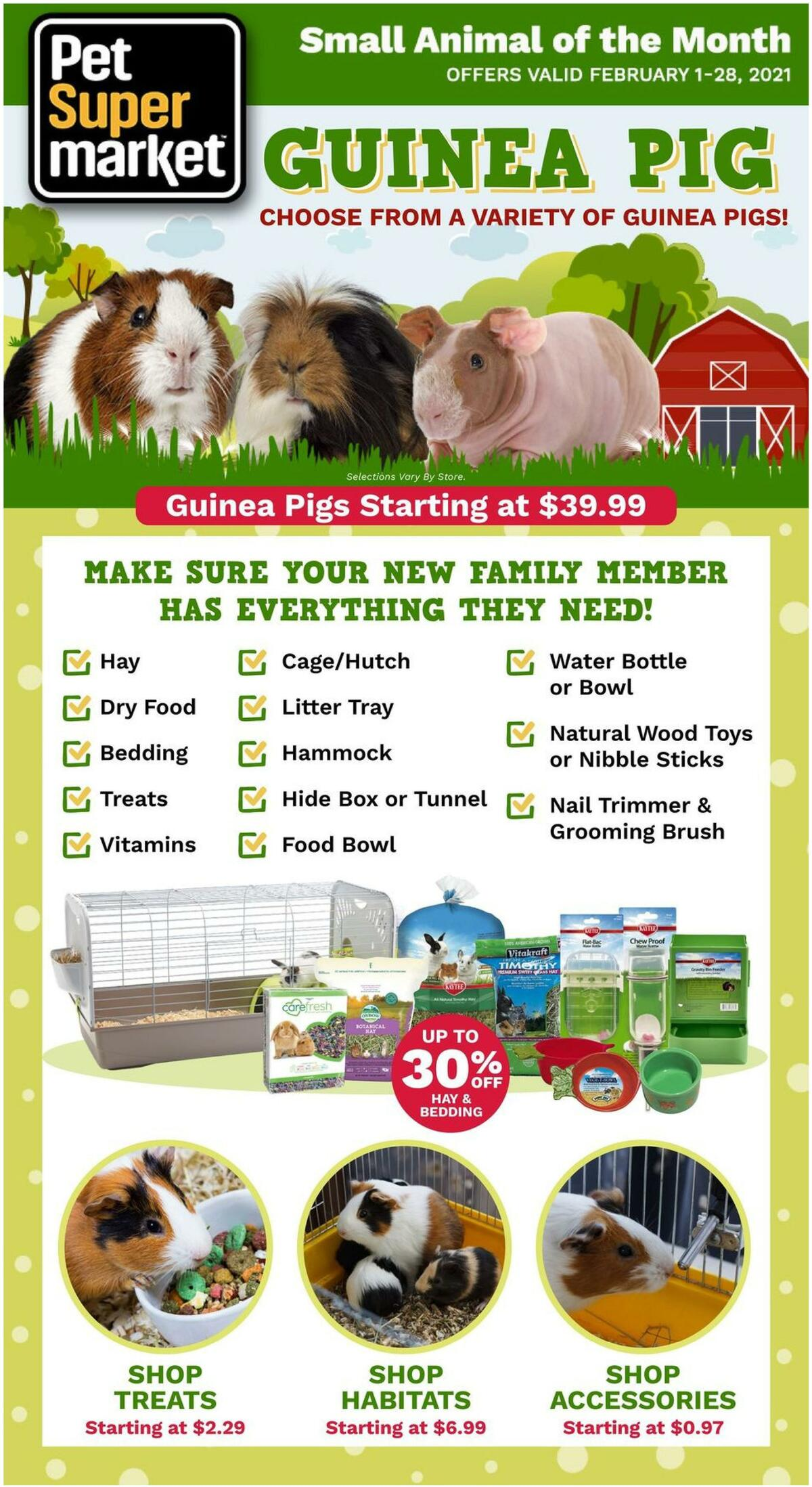 Pet Supermarket Guinea Pig Weekly Ad from February 1