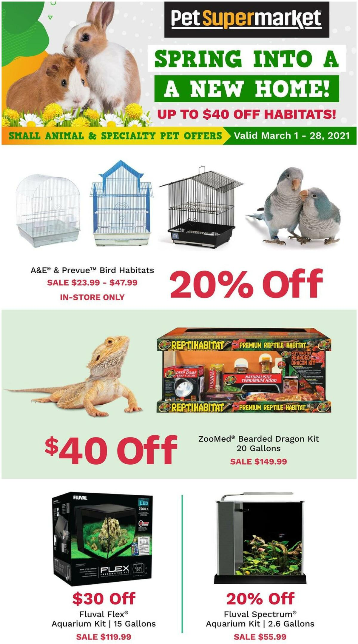 Pet Supermarket Up to $40 Off Animal Habitats Weekly Ad from March 1