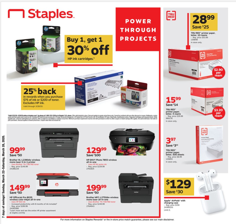 Staples Weekly Ad from March 22