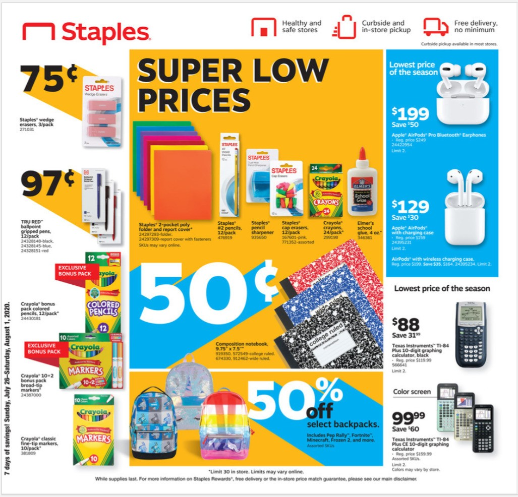 Staples Weekly Ad from July 26
