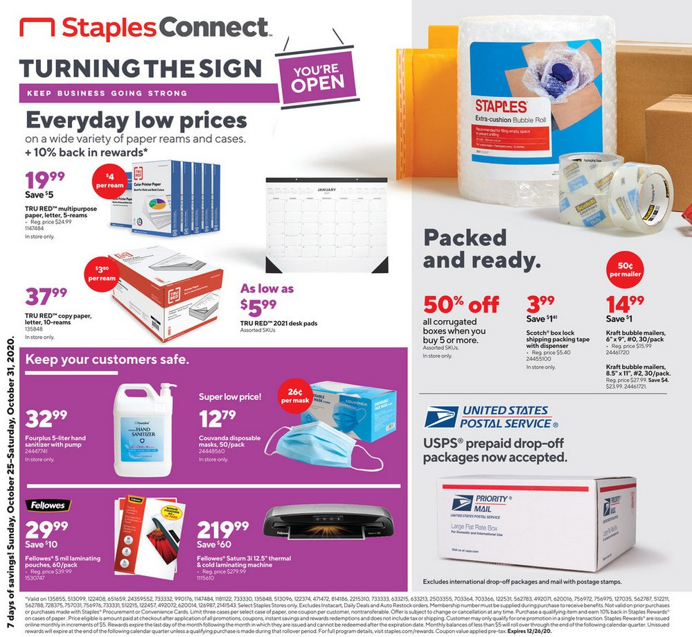 Staples Weekly Ad from October 25