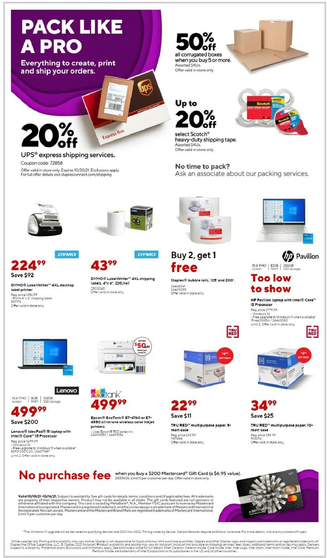 Staples Weekly Ad from October 10