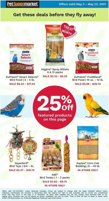 Pet Supermarket 25% Off Select Bird Items