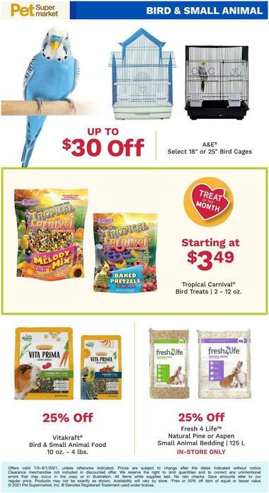 Pet Supermarket July Bird & Small Animal Specials